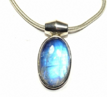 Rainbow Moonstone Necklace Silver Oval 'One-Off' with snake chain